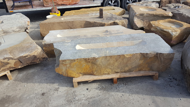 960ll Large Linear Fireboulder Natural Stone Fire Pits