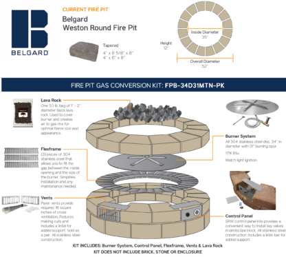 Gas Conversion Kit - Belgard Weston Round Fire Pit