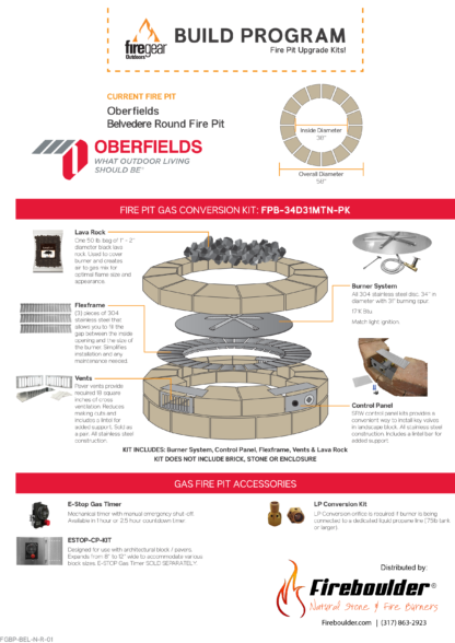 Gas Conversion Kit - Oberfields Belvedere Round Fire Pit