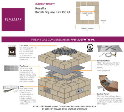 Gas Conversion Kit - Rosetta Kodah Square Fire Pit