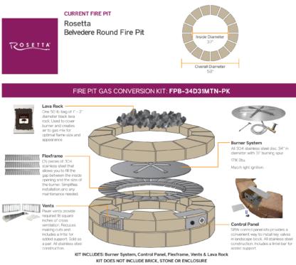 Gas Conversion Kit - Rosetta Belvedere Round Fire Pit