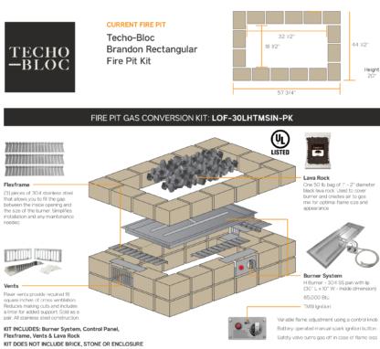 Gas Conversion - Tech-Bloc Brandon Rectangular Fire Pit