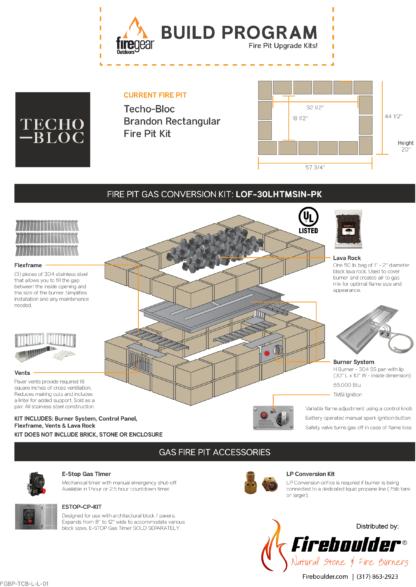 Gas Conversion Kit - Techo-Bloc Brandon Rectangular Fire Pit