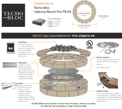 Gas Conversion Kit - Techo-Bloc Valencia Round Fire Pit