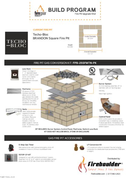 Gas Conversion Kit - Techo-Bloc Brandon Square Fire Pit