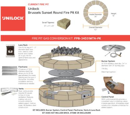 Gas Conversion Kit - Unilock Brussels Sunset Round Fire Pit Kit